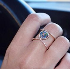 Supports the beauty of the opal, while adding a bit of sparkle. rose gold and diamond Petite Triangle Double Band Opal ring – Luna Skye by Samantha Conn Bling Bling, Jewelry Box, Jewelry Accessories, Cheap Jewelry, Stylish Jewelry, Jewlery, Fine Jewelry, Luxury Jewelry, Body Chains