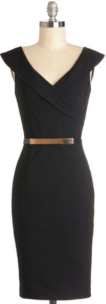 Modcloth Black Poised Professional Dress