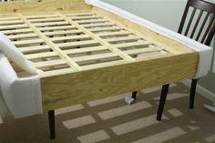 DIY Platform Bed: Upholstering the Platform - * View Along the Way * Furniture Rehab, Furniture Design Modern, Home Diy, Bed Frame Legs, Diy Bed Frame, Diy Platform Bed, Diy Headboard Upholstered, Upholstered Bed Frame, Upholstered Beds