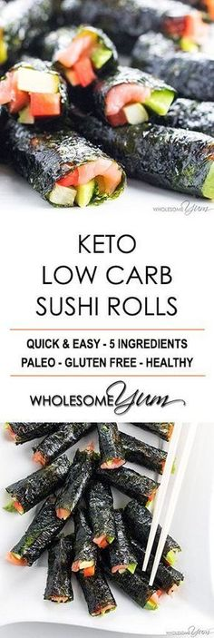 Keto Low Carb Sushi Rolls Recipe without Rice (Healthy) - 5 Ingredients - The best low carb keto sushi recipe needs only 5 ingredients and 15 minutes! Just use this easy method for how to make sushi…More 12 Awesome Keto Diet Friendly Side Salad Ideas Keto Foods, Ketogenic Recipes, Low Carb Sushi, Low Carb Keto, Low Carb Lunch, Sugar Free Recipes, Low Carb Recipes, Healthy Recipes, Sushi Without Rice