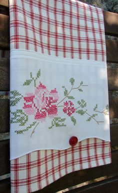 A Rose for You Vintage Pillowcase & Vintage Button to Up-cycled Dish Kitchen Tea Towel - Kitchen Decor for Cook or Foodie