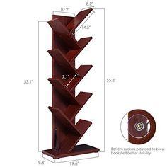 Tree Bookshelf, Superjare Book Rack Bookcase, Display Storage Rack for CDs Books - Cherry Wood Color Tree Bookshelf, Cool Bookshelves, Bookshelf Design, Diy Books Rack, Book Racks, Diy Wooden Projects, Wooden Diy, Wood Interior Design, Diy Interior