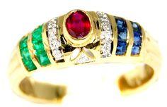 18K Yellow Gold Jewelry Diamond Eternity Multi Gemstone Ring [R0058] BKGjewelry http://www.amazon.com/dp/B00CHJKBR4/ref=cm_sw_r_pi_dp_-Fvkwb0SC9KZP