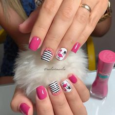 Pin on Unhas Red Nail Art, Pretty Nail Art, Cute Nail Art, Cute Nails, Disney Acrylic Nails, Manicure And Pedicure, Gel Nails, Flamingo Nails, Romantic Nails