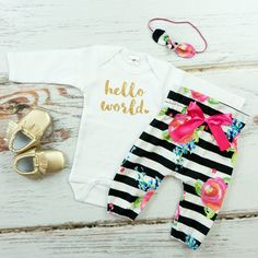 cute hello world baby outfit