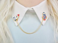Astronaut Spaceman Rocket Spaceship Space Universe Solar System Pin Badge Collar Pins Brooch