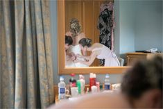 getting wedding dress on at stoke by nayland golf club wedding, reflection in mirror Romantic Wedding Photos, Groom Getting Ready, Relaxed Wedding, Bride Groom, Golf Clubs, Reflection, Wedding Day, Wedding Photography, Mirror