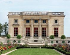 """The Petit Trianon at Versailles / Marie Antoinette's retreat / built 1762–68 / conceived by Ange-Jacques Gabriel, who """"paid homage to the ideals of Greek temple architecture with a square floor plan, a flat roof, and four sober façades limned in Corinthian detail"""" - Architectural Digest"""