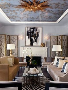Tan beige leather sofa/brass