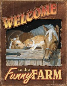 """Saddles Tack Horse Supplies - ChickSaddlery.com """"Welcome To The Funny Farm"""" Metal Sign Art"""