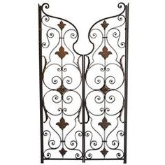 Pair of Decorative American Mid-20th Century Wrought and Cast Iron Gates