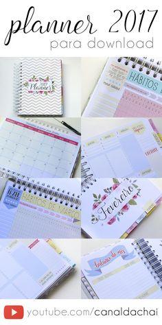 Daily Planner 2017 completinho e gratuito pra você baixar e começar o ano organizando sua vida, seus objetivos e seu dia a dia!