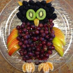 Owl Fruit Plate - blackberry head, kiwi eyes, cuties beak & feet, apples wings & ears, grapes body