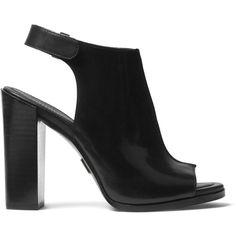 Michael Kors Maeve Leather Open Toe Block Heel Mule Sandals (1,575 ILS) ❤ liked on Polyvore featuring shoes, sandals, heels, heeled mules, open-toe mules, leather mule sandals, leather sandals and leather shoes