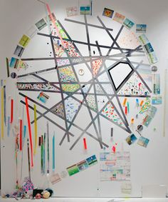 """FRANKLIN EVANS_turningtime, 2009, acrylic, painted tape, tape, thread and watercolor on paper on wall, 100"""" x 80"""" Sue Scott Gallery, New York"""