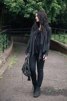 Barneys Originals Leather Jacket / OnePiece 'Stroll' Hoodie * / Helmut Lang Tee * / Topshop Coated Jeans / Kurt Geiger Wedges / Balenciaga City