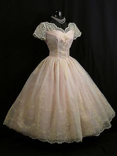 Vintage 1950's 50s PINK Flocked Chiffon Organza Party Prom Wedding Party DRESS