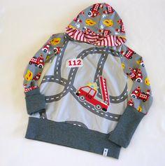 Pullover & Sweatshirts - 112 FEUERWEHR Pullover mit Kapuze Gr. 110 / 116 - ein Designerstück von traumgenaeht bei DaWanda