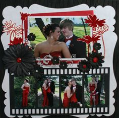 prom scrapbook layouts | fussy cut My Mind's Eye Lush flowers to frame the main photo and ...