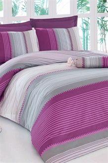 Conjunto de edredão algodão Valenti - Violeta e cinzento