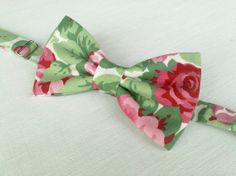 Men's floral bow tie  rose floral bow tie  by KristineBridal, $39.99
