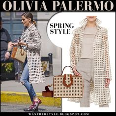 Olivia Palermo in beige open grid coat and skinny jeans with brown box bag #style #fashion #celebrity #outfit #spring #outfit