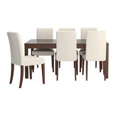 IKEA - BJURSTA / HENRIKSDAL, Tisch und 6 Stühle, Die Tischgröße lässt sich schnell und einfach dem Bedarf anpassen. Mit den 2 Zusatzplatten unter der Tischplatte lässt sich der Tisch für 6-8 Personen erweitern.Die Zusatzplatten lassen sich griffbereit unter der Tischplatte unterbringen, bis sie gebraucht werden.Ein verborgener Mechanismus hält die Zusatzplatte am Platz, ohne dass Rillen zwischen den Platten sichtbar sind.Die klar lackierte Oberfläche ist leicht sauber zu halten.Mit…