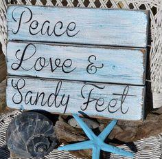 Beach Decor, Coastal, Beach Theme, Beach Sign, Beach Art, Wood Sign, Reclaimed Driftwood, Peace Love Sandy Feet