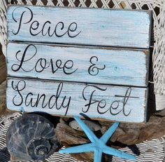 Beach Decor, Beach Wedding, Peace Love Sandy Feet Pallet Sign, Coastal Theme, Beach Sign, Beach Art, Wood Sign, Reclaimed Driftwood