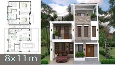 House Plans with 3 Bedrooms – Sam House Plans – Indian Living Rooms Simple House Design, House Front Design, Modern House Design, Affordable House Plans, Indian House Plans, Plans Architecture, Architectural House Plans, Model House Plan, Bedroom House Plans