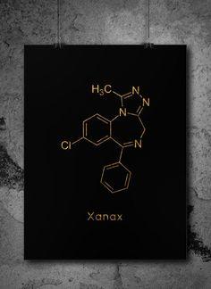 Instant Download Xanax Molecule Chemistry Print Science Gift Digital Download Chemistry Art Pharmacy Gift Downloadable Prints 4 Science Gifts, Science Art, Earth Science, Science Experiments, Pharmacy Gifts, Chemistry Art, Drugs Art, Stoner Art, Chemical Formula