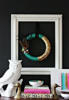 DIY Pantone Green Fall Feather Holiday Wreath
