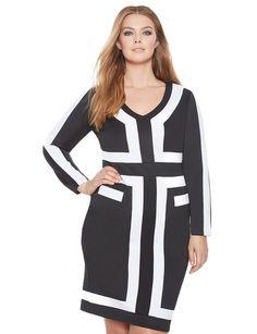 Contrast Colorblock Dress Black/White