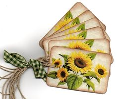 Gift Tags Favor Tags Hang Tags Place Cards Escort Cards Autumn Sunflower Vintage.