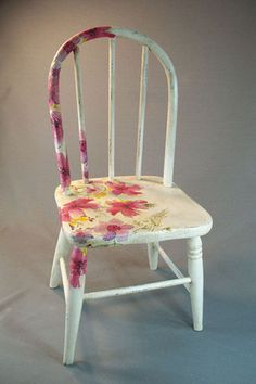 Antique Wooden Child's Chair With Decoupage Flowers And Chalk Paint Finish