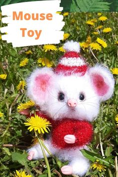 """Little crochet white mouse has movable paws. A crocheted mouse toy in a Santa hat will easily fit in your palm , you can give it to a friend, and every time she sees it, she will remember you. * The mouse is very small about 16.0 cm=6.3"""". * The mouse is knitted from yarn NAKO Paris. # miniaturemouse# Amigurumimouse # Mousedoll# MouseToy#crochetmouse# Softmouse"""