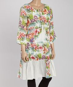 Another great find on #zulily! White & Red Floral Cover-Up Tunic - Plus by La Cera #zulilyfinds