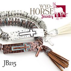 Wyo-Horse Jewelry - Cross and Tassel Metal Beaded Bracelet  - Brown/Copper or Natural/Silver - Create a wholesale account today