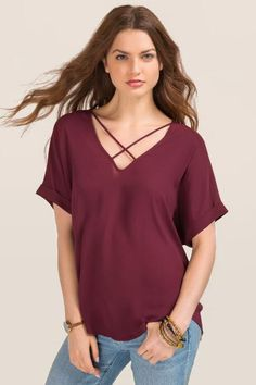 Lush Ainsleigh X Neck Blouse