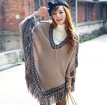 2015 New Fashion Women Batwing Sleeve Tassels Hem Style Cloak Poncho Cape V-neck…