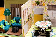 Amazing book dollhouse made from record covers and mostly thrifted/dollar tree items