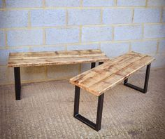 Industrial Reclaimed Dining Bench On Steel Base