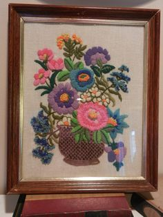 1970s Embroidered Purple, Blue & Pink Wall Hanging Art.