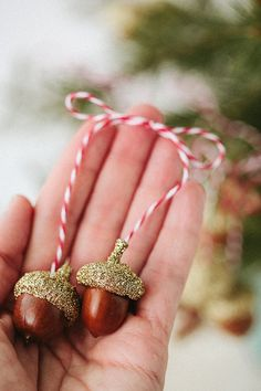 3 sets of golden acorns . ornaments by staceywinters on Etsy