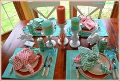 Corner of Plaid and Paisley: Colorful Summer Table. I don't love chevrons but these are cute!