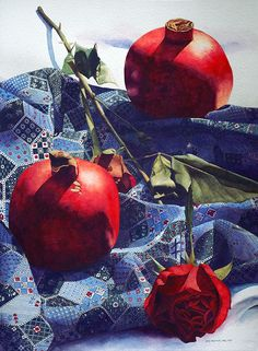 Chris Krupinski watercolor - Pomegranates and Roses
