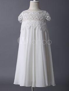 Boho Ivory Spitze Kappe Ärmel Chiffon Blumenmädchen Kleid