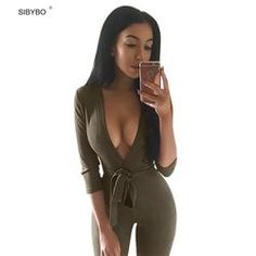 Women Jumpsuits 2016 New Autumn Winter 4 Color Deep V Neck Suede Belt Sexy  Club Bandage bdce1b504a04