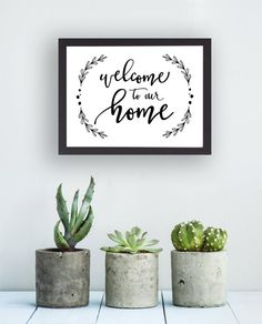 Printable Welcome to Our Home Laurel Instant by tumbalinastudio Diy Signs, Home Signs, Calligraphy Welcome, Calligraphy Diy, Baby Poster, Cuadros Diy, Chalkboard Art, Wall Art Decor, Diy Home Decor
