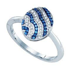 1/6CT-Diamond MICRO-PAVE BLUE RING